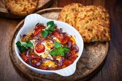 Feta cuit au four avec des légumes Photographie stock libre de droits