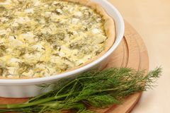 Feta and dill tart Royalty Free Stock Image