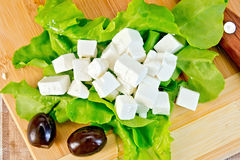 Feta with green lettuce and black olives on board Royalty Free Stock Images