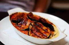 Feta i aubergine naczynie Obraz Royalty Free