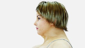 Feta kvinnor 3d Bantning- och fetmaprocess begreppet bantar hälsa isolate Realistisk tolkning 3d stock video