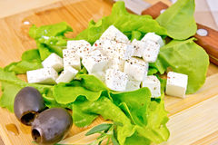 Feta with lettuce and black olives on board Royalty Free Stock Image