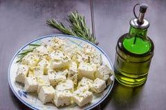 Feta, Olivenöl Lizenzfreie Stockbilder