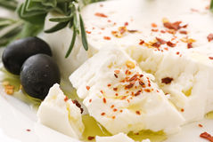 Feta with Olives Stock Image