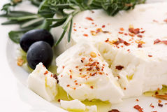 Feta with olives Royalty Free Stock Photo