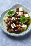 Feta with Olives in Olive Oil Royalty Free Stock Photos