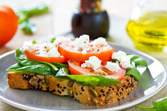 Feta and Spinach sandwich Royalty Free Stock Photography