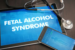 Fetal alcohol syndrome (congenital disorder) diagnosis medical c. Oncept on tablet screen with stethoscope Stock Photo