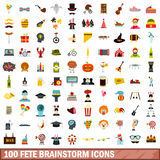100 fete brainstorm icons set, flat style. 100 fete brainstorm icons set in flat style for any design vector illustration Stock Photo