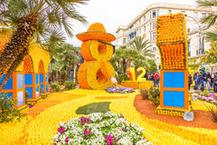 Fete du Citron in Menton, France. Art made of lemons and oranges in the famous carnival of Menton, France. Fete du Citron stock photo