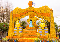 Fete du Citron in Menton, France. Sphinx and Cleopatra made of lemons and oranges in the famous carnival of Menton, France. Fete du Citron Royalty Free Stock Image