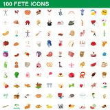 100 fete icons set, cartoon style. 100 fete icons set in cartoon style for any design illustration vector illustration