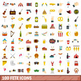 100 fete icons set, flat style Royalty Free Stock Photos