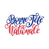 Fete Nationale Francaise, hand lettering. Phrase translated to English French National Day. 14th July vector concept. Fete Nationale Francaise, hand lettering Stock Photo