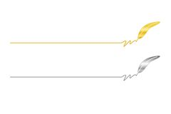 Fether pen ending. Ending with a golden and silver feather pen illustration. vector available Royalty Free Stock Photography