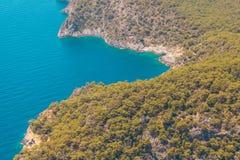 Fethiye, Τουρκία - πανοραμική παραλία Belcekiz άποψης Oludeniz, μπλε λιμνοθάλασσα Fethiye από τον αέρα ή κηφήνας μεσογειακό viare στοκ εικόνες με δικαίωμα ελεύθερης χρήσης