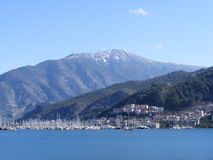 Fethiye Bay. A view of the harbour in Fethiye, Southwest Turkey. Snowcapped mountain is a backdrop Stock Photography