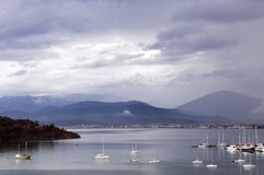 Fethiye Bay Turkey. Scenic view of boats moored in Fethiye Bay, Mugla province, Turkey Stock Photo