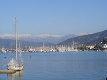 Fethiye Bay, Turkey. A view of the town and harbour of Fethiye in Southwest Turkey Stock Image