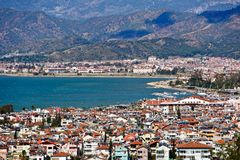Fethiye city and sea view from hills Stock Image