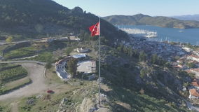 Fethiye City with Turkish Flag. Full HD 1920x1080 stock footage