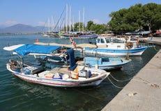 Turkish Fishing  Boats docked at Fethiye Port. FETHIYE,MUGLA,TURKEY-JUNE 26:Turkish Fishing  Boats docked at Fethiye Port.June 26,2017 in Fethiye,Mugla,Turkey Royalty Free Stock Photo