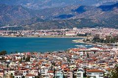 Fethiye stads- och havssikt från kullar Fotografering för Bildbyråer