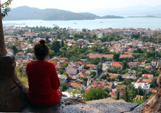 Fethiye town view from the Tomb of Amyntas Stock Image
