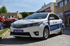 Fethiye/Turchia - 10 04 18: Automobile di polizia stradale Toyota Camry fotografia stock