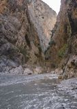 Fethiye. Turkey.Canyon Saklikent. river at the bottom of the canyon. In the rays of the rising sun Stock Photos