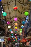 Fethiye. Turkey.Market. colorful balls hung from the ceiling of the bazaar, bright, beautiful, amazing. Festive mood of the evening market Royalty Free Stock Photos