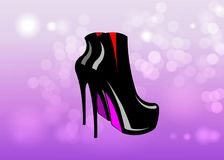 Fetish red and black shoes vector  on pink  blurred background. 3D woman boots on high heels. Bdsm Royalty Free Stock Photo
