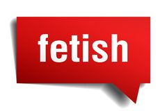 Fetish red 3d speech bubble. Fetish red 3d square isolated speech bubble Stock Photography