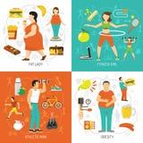 Fetma och hälsobegrepp stock illustrationer
