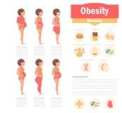 Fetmatyper och orsaker vektor illustrationer