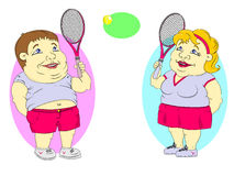 Fett folk som spelar tennis Arkivfoto