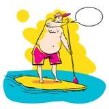 Fett göra för man står paddla upp på skovelbräde på vatten på sjösidan Arkivfoton