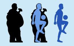Fett och slank mankontur stock illustrationer