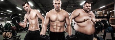 Fett, Sitz und athletische Männer Ectomorph, Mesomorph und endomorph Getrennt auf Weiß Vor und nach Ergebnis Gruppe von drei lizenzfreies stockfoto