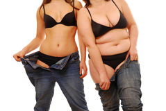 Fett und dünn   Lizenzfreies Stockfoto