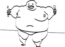Fett und hungrig Stockbild