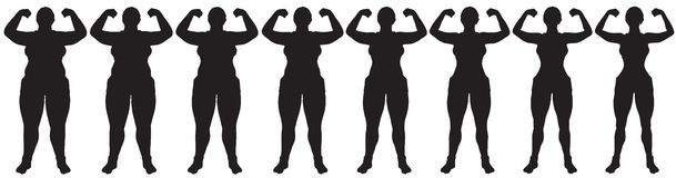 Fett, zum der Frauengewichtsverlustumwandlungs-Schattenbildfront abzunehmen Stockbild