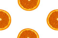 Fetta arancione su priorità bassa bianca Fotografia Stock