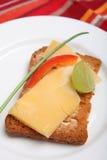 Fetta biscottata con formaggio olandese Fotografie Stock