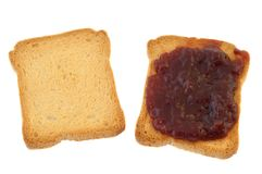 Fetta biscottata ed inceppamento dorati Fotografia Stock Libera da Diritti