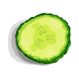 Fetta del cetriolo con ombra Illustrazione di vettore Fotografia Stock