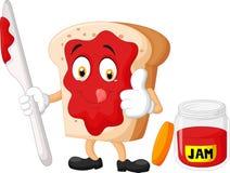 Fetta del fumetto di pane con inceppamento che dà i pollici su Fotografie Stock Libere da Diritti