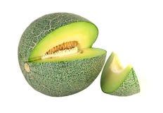 Fetta del melone isolata su fondo bianco Fotografia Stock