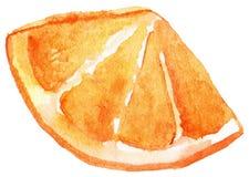 Fetta dell'acquerello di frutta arancio isolata Immagini Stock
