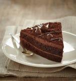Fetta della torta di cioccolato Immagini Stock